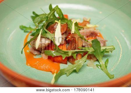 Game bird fillet with sweet potato mash, mushrooms and rocket salad close-up