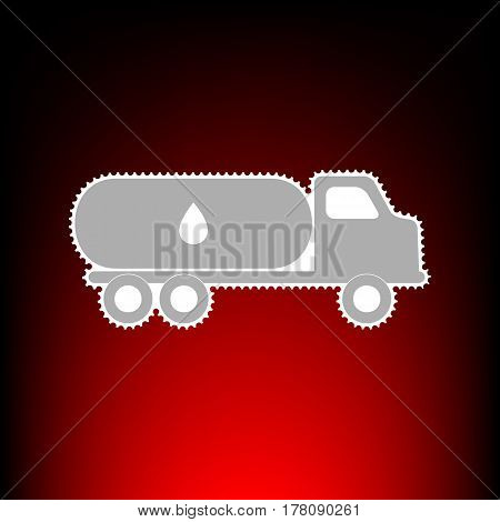 Car transports Oil sign. Postage stamp or old photo style on red-black gradient background.