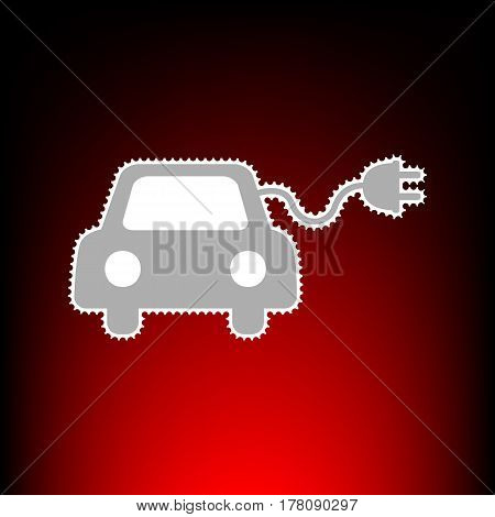Eco electric car sign. Postage stamp or old photo style on red-black gradient background.