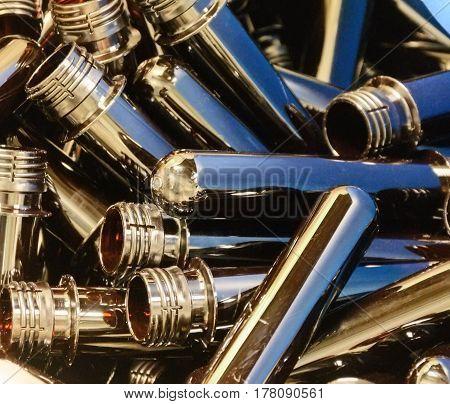Placer PET preform. Close-up photo, shiny objects