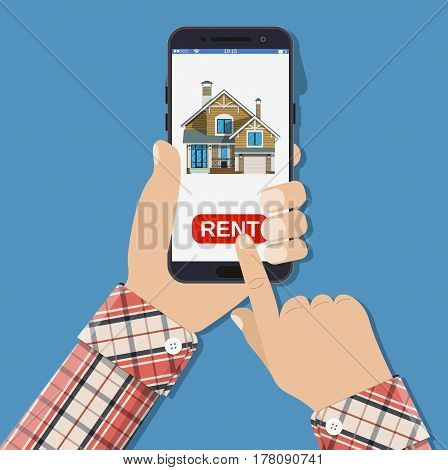 Hand hold smartphone with Home icon on smartphone screen. Rent apartments, homes app. Vector illustration in flat style