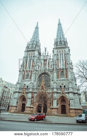 entrence of Gothic Church in cold cloudy spring day