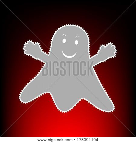 Ghost isolated sign. Postage stamp or old photo style on red-black gradient background.