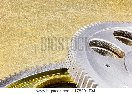 Scratched Weathered Cogwheels For Industrial Equipment
