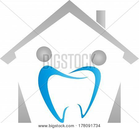 House and two people as tooth, people and dentist logo