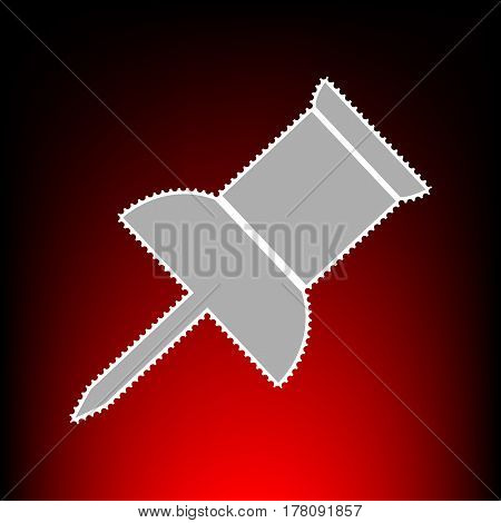 Pin push sign. Postage stamp or old photo style on red-black gradient background.