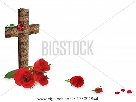 Red Rose And  Cross On White Background