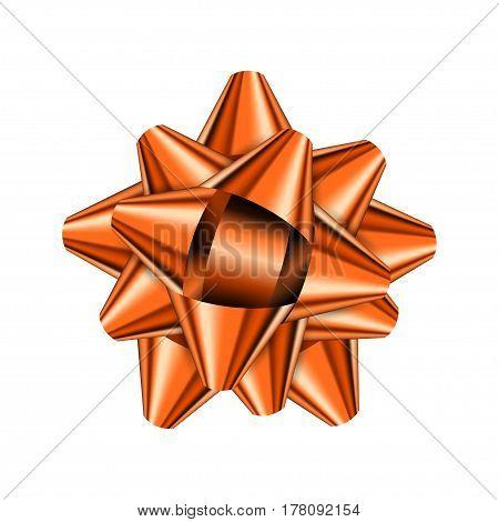 Orange holiday bow on white background. Vector illustration for your design