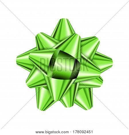 Green holiday bow on white background. Vector illustration for your design