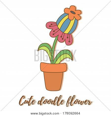 Cute lovely doodle drawn colorful house flower in pot vector