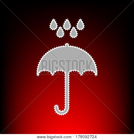 Umbrella with water drops. Rain protection symbol. Flat design style. Postage stamp or old photo style on red-black gradient background.