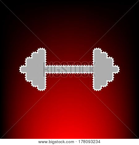 Dumbbell weights sign. Postage stamp or old photo style on red-black gradient background.