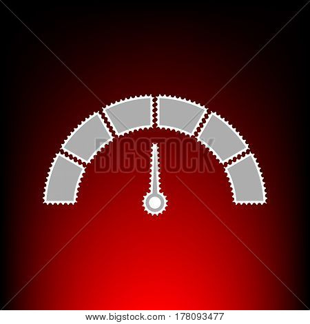 Speedometer sign illustration. Postage stamp or old photo style on red-black gradient background.
