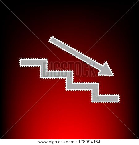Stair down with arrow. Postage stamp or old photo style on red-black gradient background.