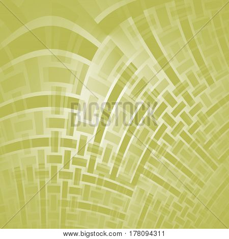 Abstract geometric background single color. Curved rectangles and stripes pattern in beige and light green shades diagonally and shiny.