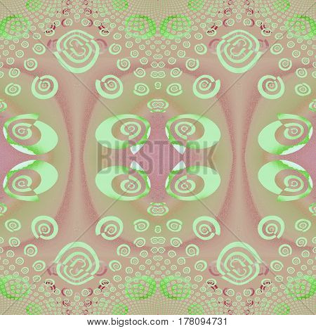 Abstract geometric seamless background. Regular ellipses and spirals pattern in mint green, pink and violet shades, ornate and dreamy.