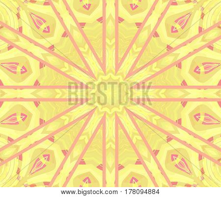 Abstract geometric seamless background. Regular round star ornament in pastel yellow shades with violet and pink elements, centered.