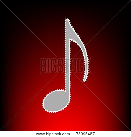 Music note sign. Postage stamp or old photo style on red-black gradient background.