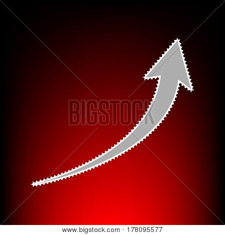 Growing arrow sign. Postage stamp or old photo style on red-black gradient background.