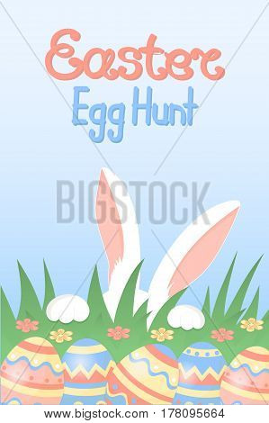 Easter egg hunt calligraphic inscription. White rabbit with paws and pink ears hiding in the grass