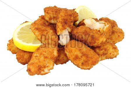 Breadcrumb covered fried scampi isolated on a white background