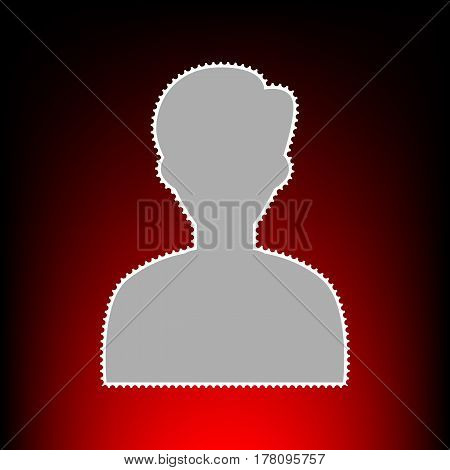 User avatar illustration. Anonymous sign. Postage stamp or old photo style on red-black gradient background.