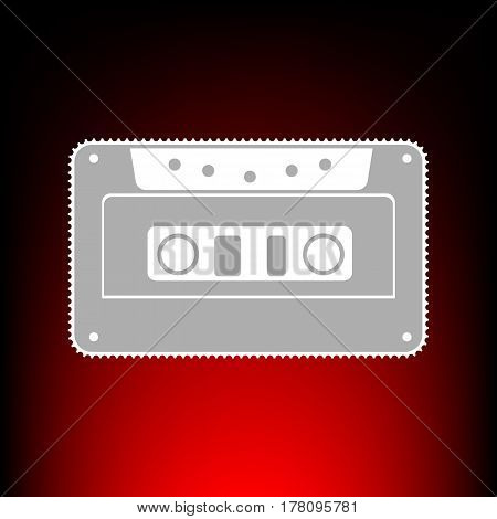 Cassette icon, audio tape sign. Postage stamp or old photo style on red-black gradient background.