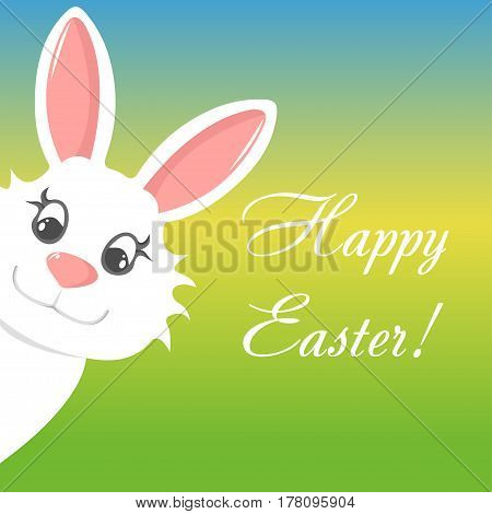 Happy easter greeting card with bunny and text banner on colorful background