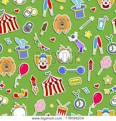 Seamless pattern on the theme of circus simple colored icons stickers on a green background