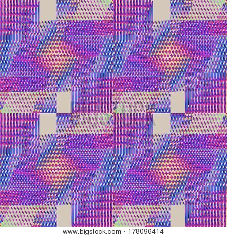 Abstract geometric seamless modern background. Regular intricate diamond and squares pattern with violet, purple, orange and light gray elements.