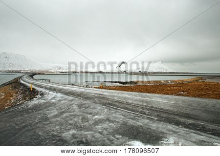 Icy road in the west fjords on Iceland.