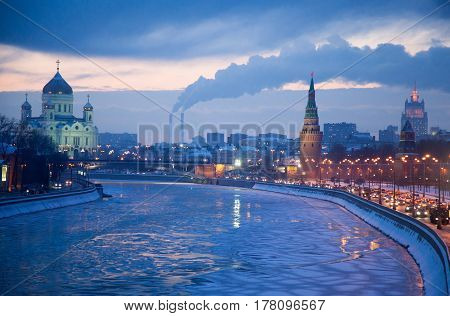 Russia. The ensemble of the Moscow Kremlin and temple of Christ the Savior view of the center along the Moscow river in the winter evening in the bitter cold