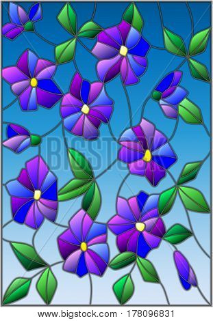 Illustration in the style of stained glass with intertwined abstract purple flowers and leaves on a blue background