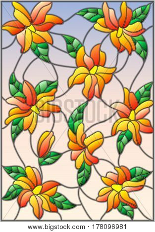 Illustration in the style of stained glass with intertwined lilies and leaves on a sky background