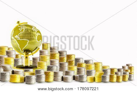 Golden globe gold coins silver coins finance stock market isolated on white background
