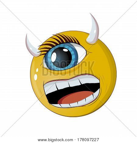 Cartoon monster with one eye of yellow color with horns
