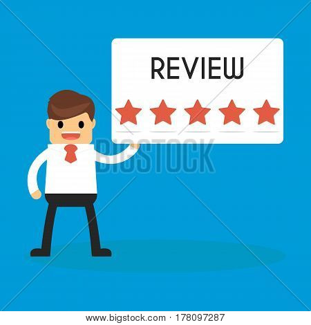Businessman holding 5 star review sign. success and mission. Flat style.