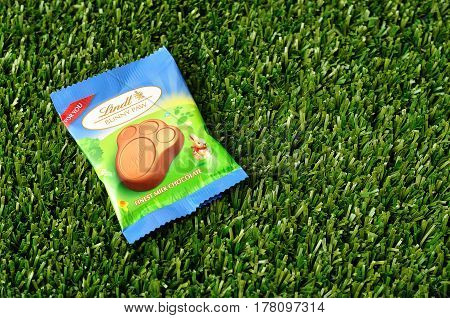 Kwa Zulu Natal - 21 March 2017 - Lindt Bunny paw for easter displayed on artificial grass.Editorial
