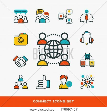 Thin lines connection icons outline set of big data center group cloud computing system internet protection password access technical instrument vector illustration. Modern design simple logo concept.