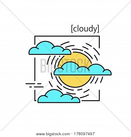 Line Vector Icons With Symbol Weather. Isolated Sun And Clouds Icon. Cloudy Weather Is Cool. Suitabl