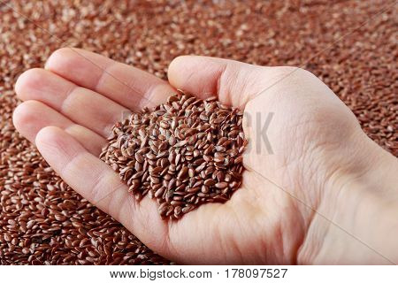 Flax seeds in the hand of a woman
