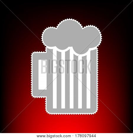 Glass of beer sign. Postage stamp or old photo style on red-black gradient background.