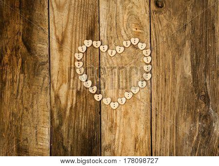 Valentine Day, Heart On Wood Background