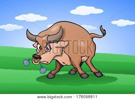 illustration of a strong wild raging bull on nature background