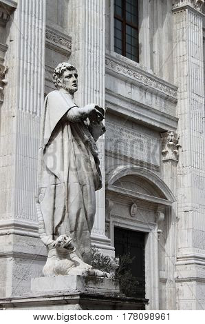 St. Crescentino statue in front of Urbino Cathedral, Italy