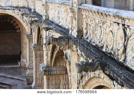 Gargoyles in the Jeronimos Monastery in Lisbon, Portugal