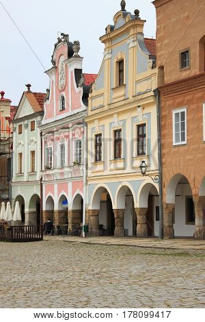 Renaissance houses in the main square of Telc, Czech Republic