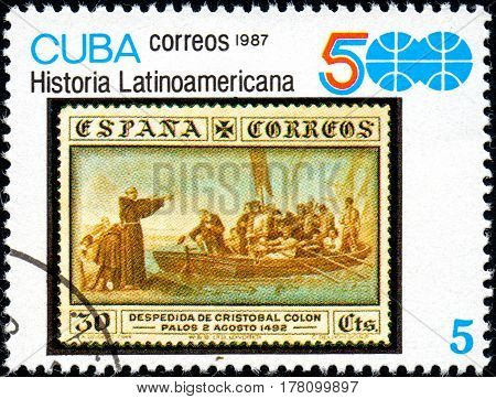 UKRAINE - CIRCA 2017: A stamp printed in CUBA shows group of Spanish conquistadores series History of Latin America circa 1987