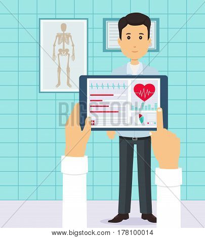 Patient at the doctor. Conducting heart diagnostics using applications on your tablet. Concept of Health.
