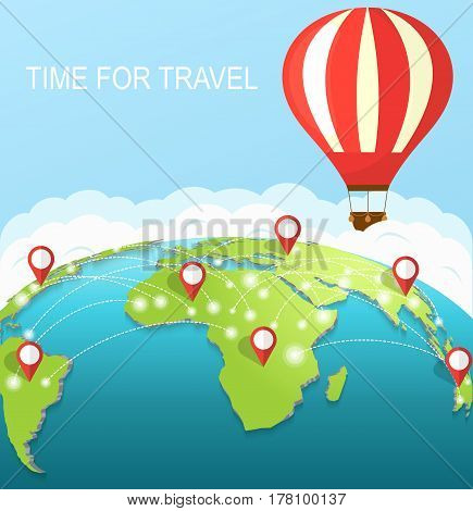 Time to travel. An air balloon in the sky around earth. Concept of travel around the world.